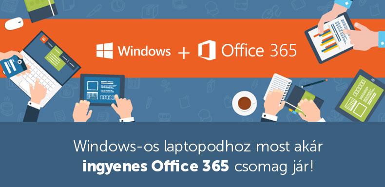 Windows-os laptophoz INGYENES Office365 csomag!