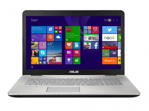 Asus N751JX-T7233D 43.9 cm (17.3) Notebook - Intel® Core™ i7 Processzor i7-4750HQ Quad-core (4 Core) 2 GHz, Ezüst, 8GB, 1TB, 950GTX 4gb,
