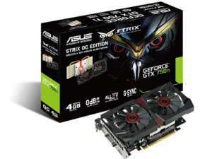 Asus Videokártya PCIe NVIDIA GTX 750 Ti 4GB GDDR5