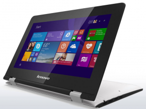 Lenovo Ideapad 11,6 HD LED Yoga 300 - 80M0004JHV - Fehér - Touch Intel® Celeron® Dual Core™ N2840 - 2,16GHz, 2GB/1333MHz, 32GB EMMC, Intel® HD, WiFi, Bluetooth, Webkamera, Windows® 8.1, Érintőképernyő