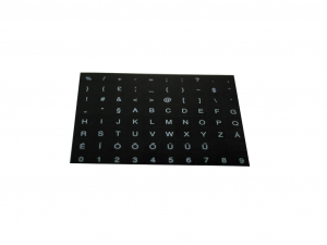 Billentyűzet matrica HU fekete alapon fehér betű