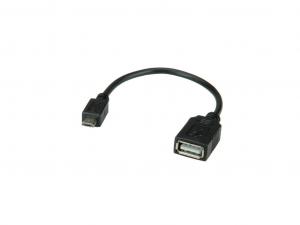 Micro USB - USB OTG kábel 15cm fekete