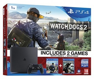 Sony Playstation 4 (PS4) Slim 1TB Watchdogs2 Bnd - Watchdogs 1-2