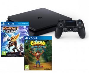 Sony Playstation 4 (PS4) Slim 500GB - Crash Bandicoot NSane Trilogy + Ratchet and Clank Gépcsomag
