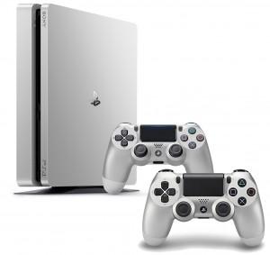 Playstation 4 (PS4) Slim 500GB Ezüst LIMITÁLT KIADÁSÚ gépcsomag- 2 darab Wireless DualShock 4 Ezüst kontrollerrel