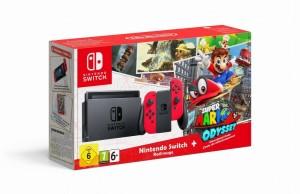 Nintendo Switch Piros Játékkonzol + Super Mario Odyssey Játékszoftver