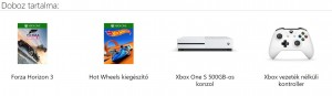 Mircosoft Xbox One S (Slim) 500GB Játékkonzol + Forza Horizon 3 játékprogram + Hot Wheels