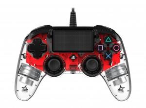 Nacon (PS4) áttetsző-piros vezetékes kontroller
