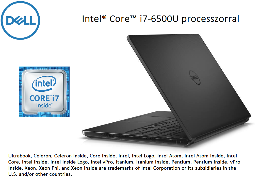 DELL Inspiron 5559 15.6 HD fényes, Intel® Core™ i7-6500U Processzor 3.10GHz, 8GB DDR3L, 1TB HDD, AMD Radeon R5 M335 /4GB, DVD, Fast Ethernet, 802.11 ac, BT, HDMI, CR, 3cell, Fekete, Linux (208955)(INSP5559-2)(DI5559A4-6500-8GH1TD4BG-11)