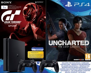 Sony Playstation 4 (PS4) Slim 1TB + Gran Turismo Sport + Uncharted: The Lost Legacy + 2db Dualhock 4 Kontrollerrel