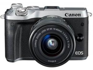Canon EOS M6 ezüst fényképezőgép váz + EF-M 15-45mm IS STM objektív