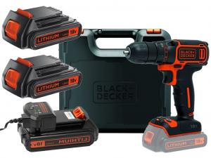 Black & Decker BDCDD186KB-QW 2 sebességes fúrócsavarozó 18V, 400mA töltő, 2 akku, koffer