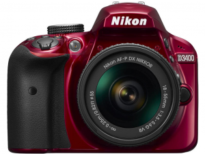 Nikon D3400 vörös fényképezőgép + AF-P 18-55mm DX VR