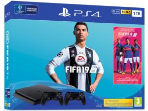 Sony PlayStation 4 Slim 1TB játékkonzol - FIFA 19 játékszoftverrel + 2db DualShock 4 kontrollerrel