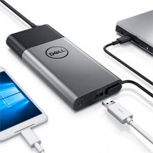 Dell PH45W17-CA Power Bank - Black, Silver - For Notebook, 45Wh Mobile Device, Tablet PC, USB Device - 5 V DC Output - 5 V DC Input - Black, Silver