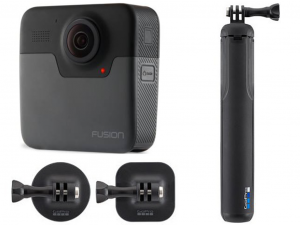 GoPro Fusion sportkamera + tripod/selfie bot és két féle rögzítő tappancs