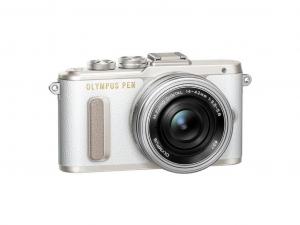 Olympus PEN E-PL8 Pancake Zoom Kit fehér/ezüst (E-PL8 váz, fehér + EZ-M1442EZ objektív ezüst)