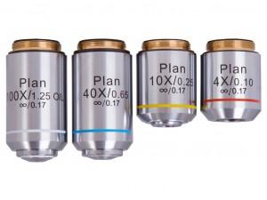 Levenhuk MED 1000 plan objektívkészlet, 4x, 10x, 40xs, 100xs (olaj)