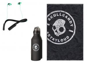 Skullcandy Gym Pack (fülhallgató + kulacs + törölköző) Fekete-menta