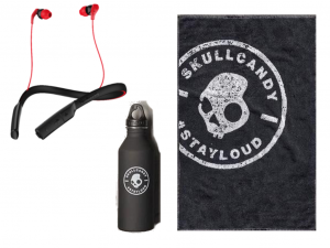 Skullcandy Gym Pack (fülhallgató + kulacs + törölköző) Fekete-piros