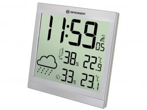 Bresser TemeoTrend JC LCD RC időjárás állomás (falióra), ezüst