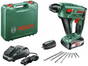 Bosch Uneo Maxx Akkus fúrókalapács tartozékokkal kofferben
