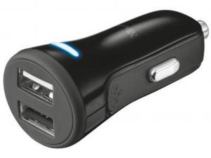 Trust autós töltő okostelefonokhoz és tabletekhez 2 USB port 20W fekete