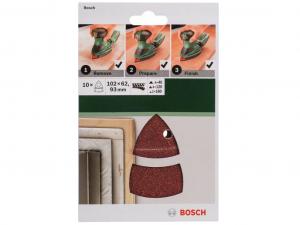 Bosch 10 részes csiszolólapkészlet multicsiszolókhoz - 102 x 62/93mm, 4x40, 4x120, 2x180 szemcseméret