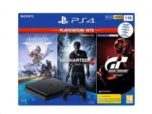 Sony PlayStation 4 (PS4) Slim 1TB fekete konzol Playstation HITS játékokkal
