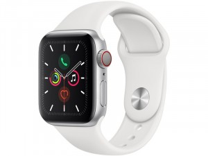 Apple Watch Series 5 GPS Okosóra 40mm Ezüst alumínium ház fehér sportszíjjal