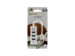 Sbox H-204 Fehér 4 portos USB Hub