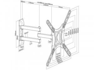 SBOX LCD-443 23-55 inch Dupla karos fali konzol, dönthető, forgatható