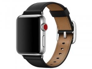 Apple Watch fekete bőr szíj 42/44m