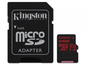 Kingston 1Adapter UHS-I U3 SDCR/64GB SD Micro 64GB HC memóriakártya