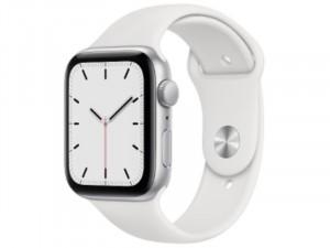 Apple Watch SE 2020 GPS 44mm Ezüst Alumínium Ház Fehér Sportszíjjal