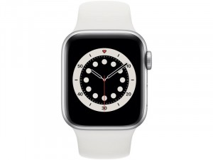 Apple Watch Series 6 GPS 40mm Ezüst Alumínium Ház Fehér Sportszíjjal