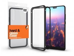 Huawei P20 Pro mágneses tok (180°) fekete fém kerettel, átlátszó hátlapi üveggel