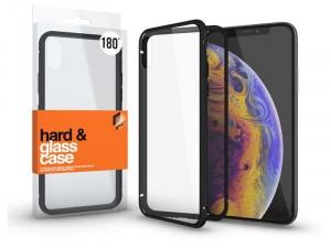 Apple iPhone 7 mágneses tok (180°) fekete fém kerettel, átlátszó hátlapi üveggel