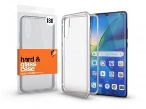 Huawei P30 Pro mágneses tok (180°) ezüst fém kerettel, átlátszó hátlapi üveggel