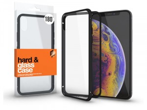 Huawei Mate 20 Pro mágneses tok (180°) fekete fém kerettel, átlátszó hátlapi üveggel