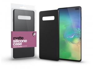Samsung Galaxy S10 Plus Matt fekete Ultra vékony Szilikon tok