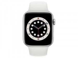 Apple Watch Series 6 GPS 44mm Ezüst Alumínium Ház Fehér Sportszíjjal