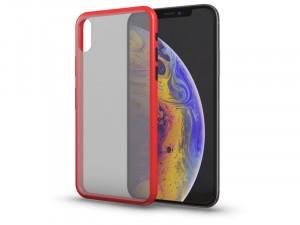 Apple iPhone Xr Matt piros tok fekete gombokkal, félig átlátszó hátlappal
