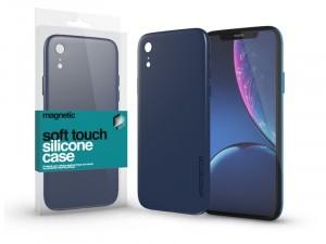 Apple iPhone Xr Soft-Touch Mágneses Sötétkék Szilikon tok