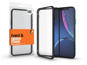 Apple iPhone Xr mágneses tok (180°) fekete fém kerettel, átlátszó hátlapi üveggel