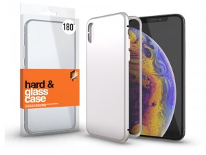 Apple iPhone Xr mágneses tok (180°) ezüst fém kerettel, átlátszó hátlapi üveggel