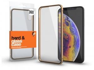 Apple iPhone Xr mágneses tok (360°) arany fém kerettel, átlátszó hátlapi üveggel