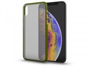 Apple iPhone Xr Matt zöld tok narancssárga gombokkal, félig átlátszó hátlappal