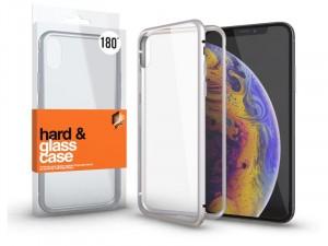 Apple iPhone X mágneses tok (180°) ezüst fém kerettel, átlátszó hátlapi üveggel