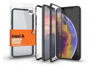 Apple iPhone Xs mágneses tok (360°) fekete fém kerettel, átlátszó hátlapi üveggel